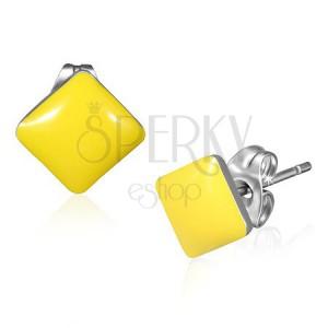 Oceľové štvorcové náušnice - pastelovo žltá farba