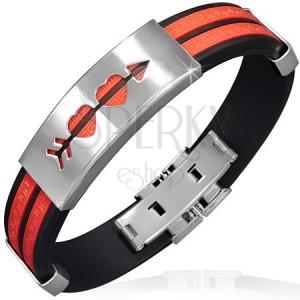 Náramok z gumy - červené pásy, známka s prestrelenými srdciami