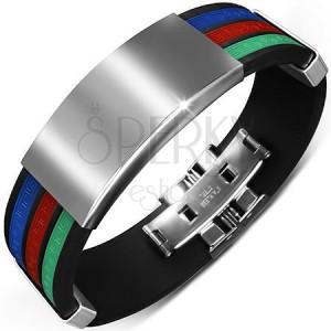 Čierny gumový náramok s tromi farebnými pásmi a hladkými známkami