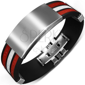 Čierny náramok z gumy - biely stredový pás a hladké kovové ozdoby