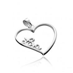 Šperky eshop - Strieborný prívesok 925 - veľké obrysové srdce s nápisom  Love X45.5 b48a422c131