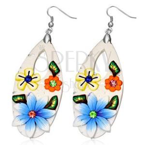 Fimo náušnice - biela slza s farebnými kvetmi a zirkónmi