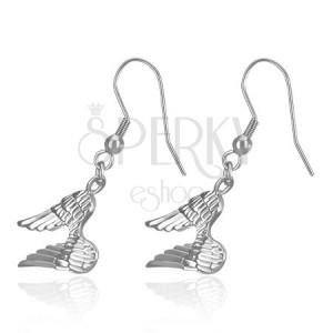 Visiace náušnice z ocele - lesklé anjelské krídla