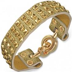 Šperky eshop - Náramok z kože zlatej farby - s pyramídami a kruhovým zapínaním X37.16