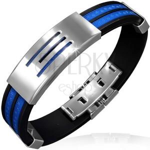 Náramok z gumy - modré pásy, známka s tromi pruhmi