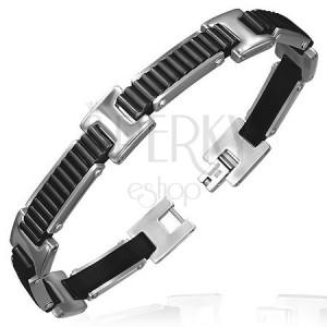 Náramok z gumených článkov - vrúbkované pásy s H spojmi, čierny