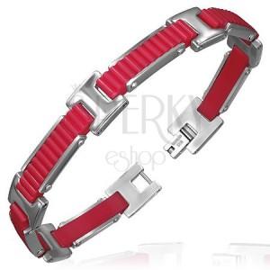 Gumový náramok - vrúbkované pásy s H spojmi, červený dizajn