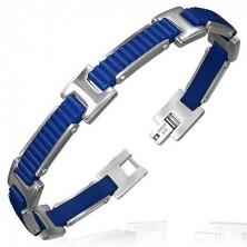 Gumový náramok - vrúbkované pásy s H spojmi, modrý dizajn
