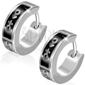 Náušnice z ocele - kruhy, symbol muža a ženy na čiernom páse