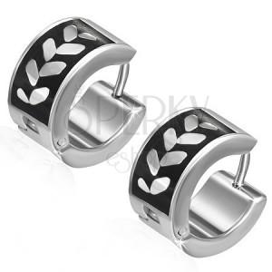 Náušnice z ocele - kruhy, listy na čiernom páse