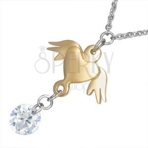 Náhrdelník z ocele - retiazka, srdce zlatej farby s krídlami a číry kameň