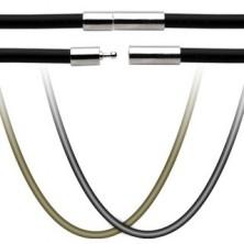 Gumená šnúrka na prívesok - uzáver z chirurgickej ocele
