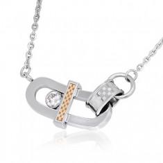 Šperky eshop - Náhrdelník z ocele - ohnutý ovál, zirkón a šachovnica AA34.06