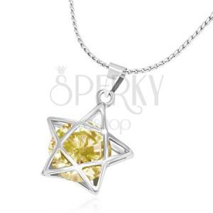 Kovový náhrdelník - jemná retiazka, 3D línia hviezdy so žltým zirkónom