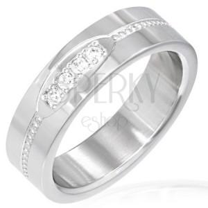 Prsteň z ocele - ovál s čírymi zirkónmi, pás z kruhov