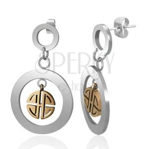 Oceľové visiace náušnice - kruhy striebornej farby so zlatým gréckym kľúčom, puzetky