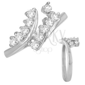 Prsteň z ocele - rozvetvené ramená s čírymi zirkónmi