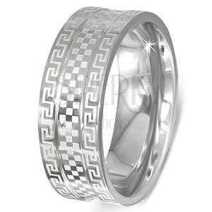 Oceľový prsteň - obrúčka s gréckym kľúčom a šachovnicou
