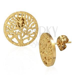 Trblietavé náušnice z ocele - zlatistý vyrezávaný strom v kruhu