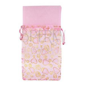 Ružové darčekové vrecúško so špirálami zlatej farby a srdiečkami