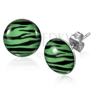 Náušnice z ocele - zebrový vzor v zeleno-čiernej kombinácii