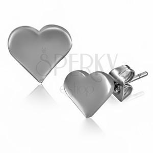 Oceľové náušnice - ploché lesklé srdce a puzetky