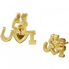 Šperky eshop - Oceľové náušnice zlatej farby - zaľúbený párik s vyznaním lásky, puzetky X28.3