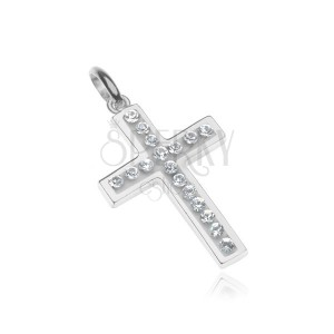 Strieborný prívesok 925 - krížik vykladaný zirkónmi, biely podklad
