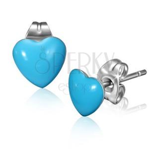Oceľové náušnice s modrými srdiečkami a puzetkami