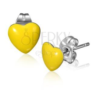 Náušnice z chirurgickej ocele so žltými srdiečkami a puzetkami