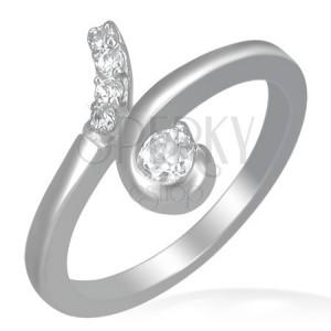 Oceľový prsteň - slučka s okrúhlymi čírymi zirkónmi