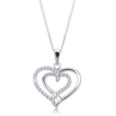 Šperky eshop - Strieborný náhrdelník 925 - prepletené hladké a zirkónové srdce X46.14