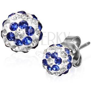 Oceľové náušnice s modro-čírymi kamienkami na guličkách