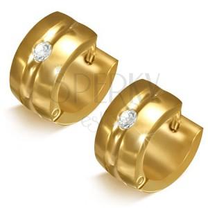 Zlatisté náušnice z chirurgickej ocele - kruhy s priehlbinou a čírym kamienkom