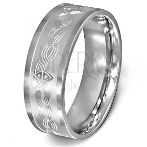 Prsteň z chirurgickej ocele - keltský uzol na matnom pozadí striebornej farby