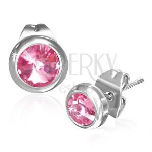 """Oceľové náušnice - ružový mesačný kameň """"Október"""", puzetky"""