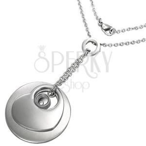 Retiazka z chirurgickej ocele - prívesky kruh, srdce a disk so zirkónikom