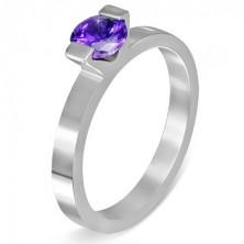 """Oceľový prsteň - mesačný kameň """"Február"""", dva úchyty"""