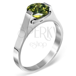 """Oceľový prsteň - zelený mesačný kameň """"Máj"""", postranné úchyty"""