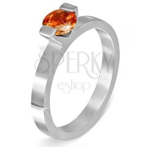 """Oceľový prsteň - mesačný kameň """"Júl"""", dva úchyty"""