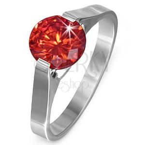 """Prsteň z ocele - rubínovo červený kameň """"Júl"""", postranné úchyty"""
