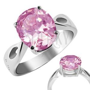 """Prsteň z ocele - ružový kameň """"Október"""", slzičkové výrezy"""