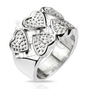 Prsteň z chirurgickej ocele - striedavé srdcia striebornej farby s bodkami