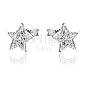 Náušnice zo striebra 925 - gravírované hviezdy so zirkónmi