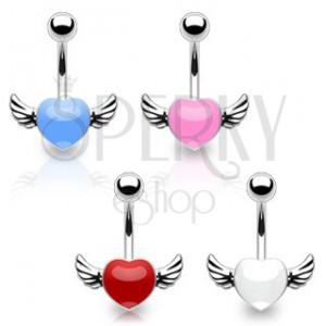 Piercing do pupka z chirurgickej ocele - farebné srdce s krídlami