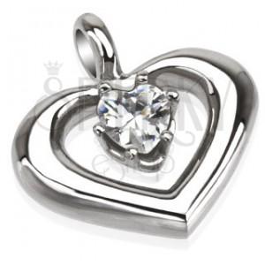 Oceľový prívesok - oblá kontúra srdca s čírym zirkónom v strede