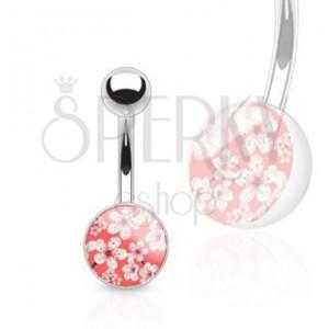 Barbell do pupka z ocele - červeno-biely kvetovaný vzor, glazúra