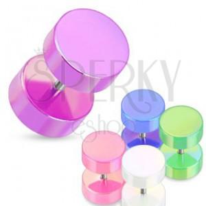 Falošný plug do ucha - farebné valčeky s perleťovým povrchom