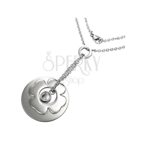 Retiazka z chirurgickej ocele s príveskami kruh, štvorlístok a disk so zirkónom