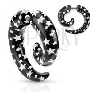 Falošný expander do ucha - čierna špirála s bielymi hviezdami